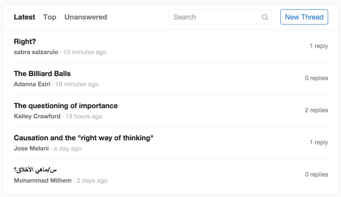 Coursera Discussions example